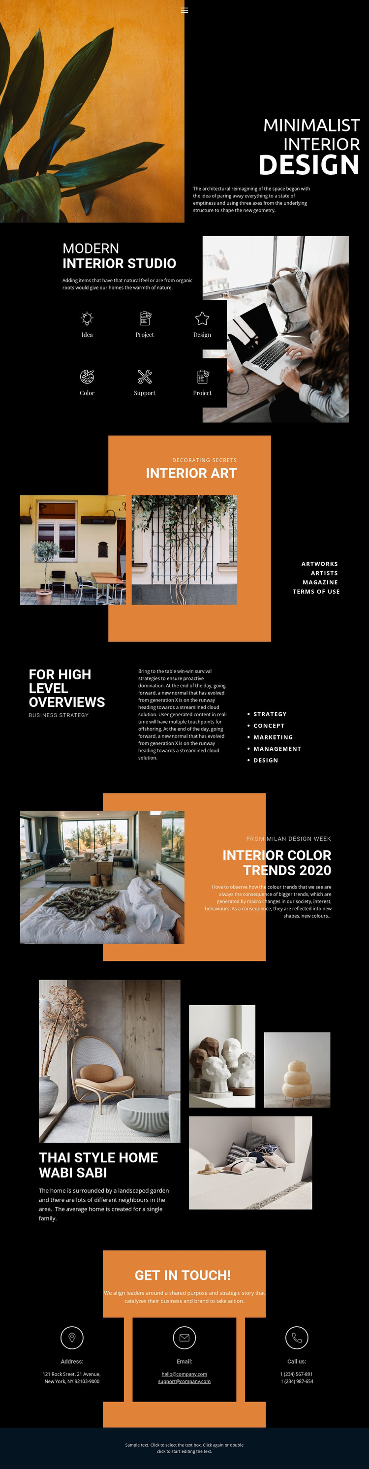 Personal thoughts in interior Website Mockup