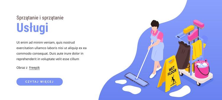 Sprzątanie i sprzątanie Szablon witryny sieci Web