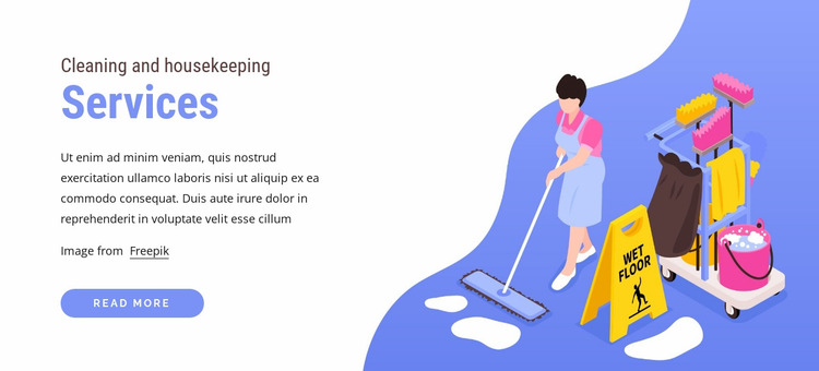 Cleaning and housekeeping Website Mockup