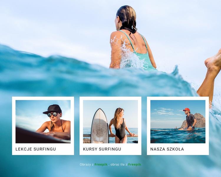 Sportowy klub surfingowy Szablon witryny sieci Web