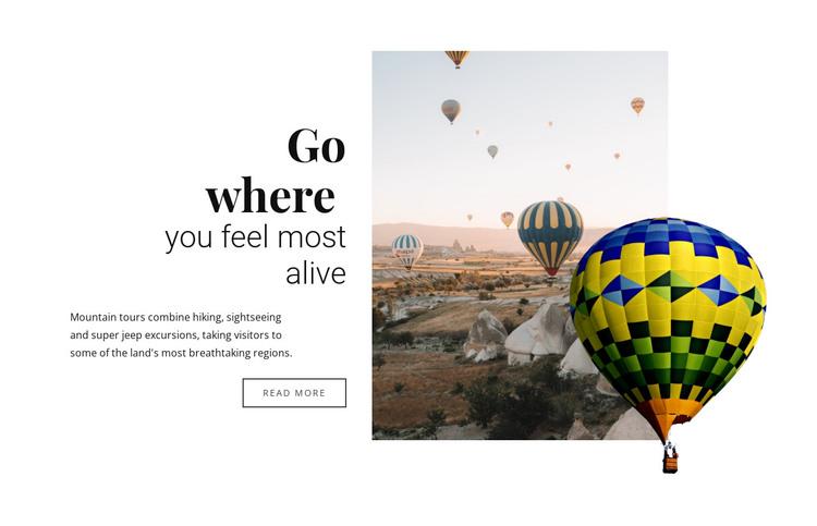 Hot air balloon rides Web Design