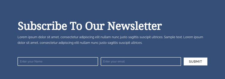 Subscribe to our newsletter Joomla Page Builder