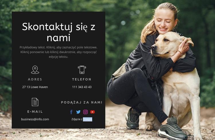 Kontakty ze szkołą psów Szablon witryny sieci Web