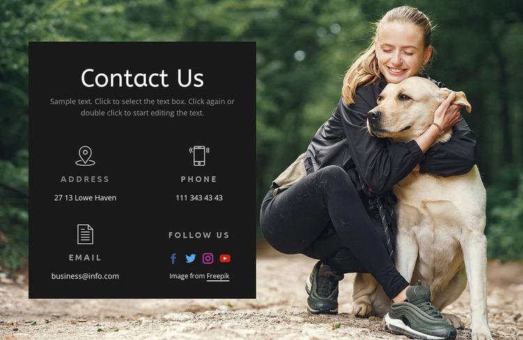 Dog school contacts WordPress Website Builder
