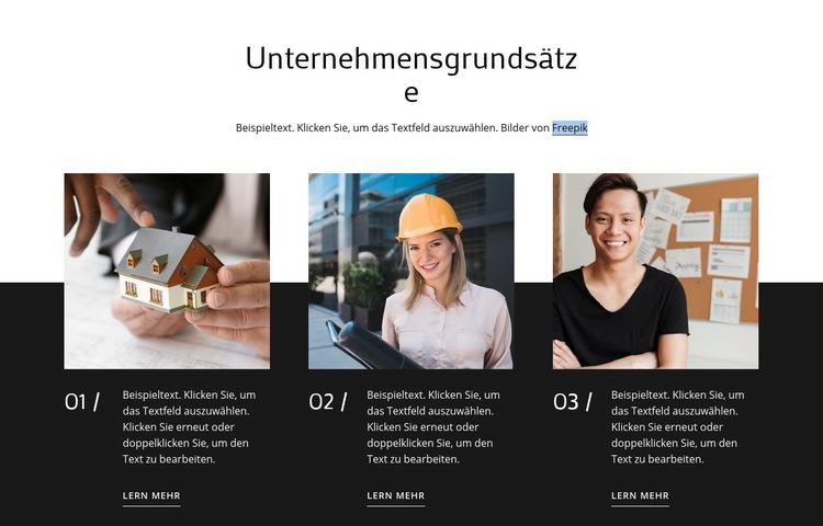 Unsere Werte und Prinzipien Website-Vorlage