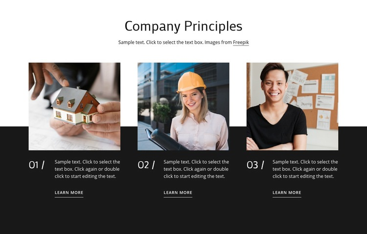Our values & principles Html Code Example