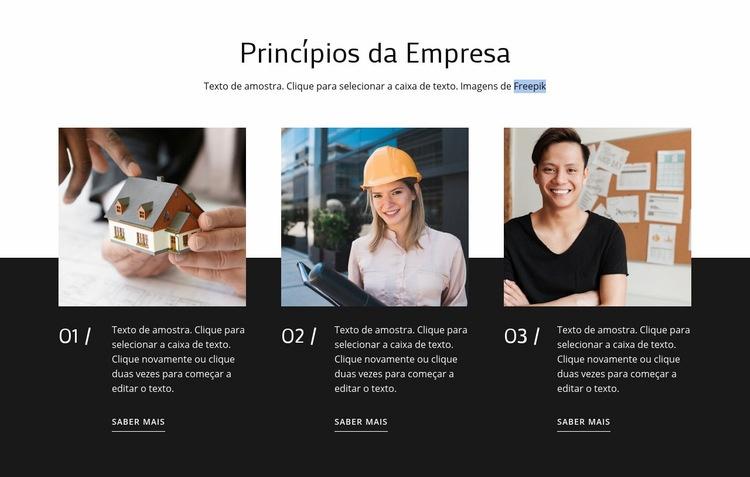 Nossos valores e princípios Modelo de site