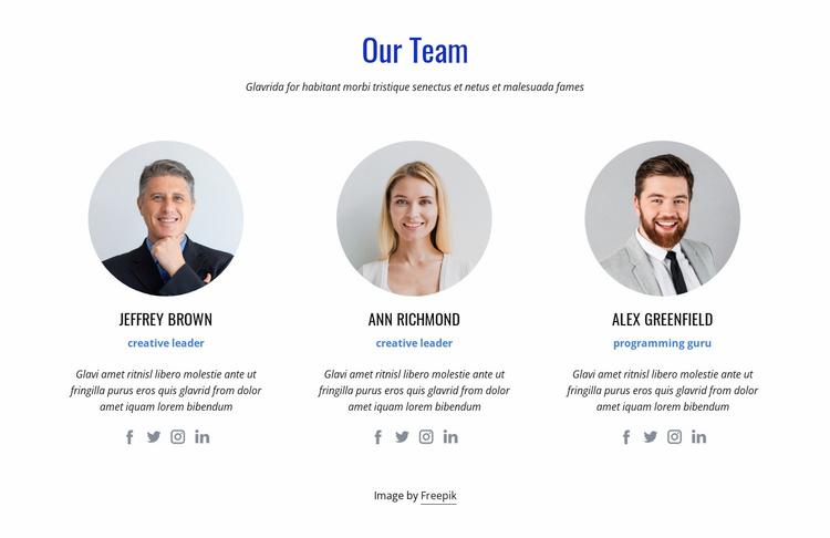 An international team of experts Website Template