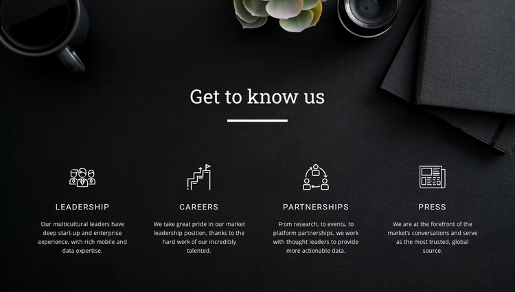 Get to know us Joomla Template