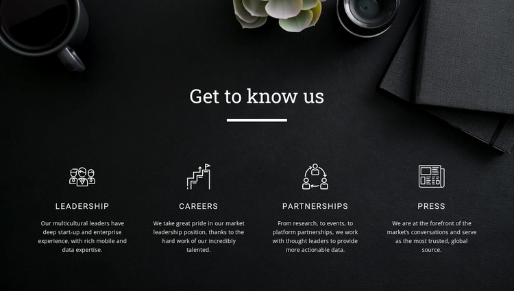 Get to know us WordPress Template