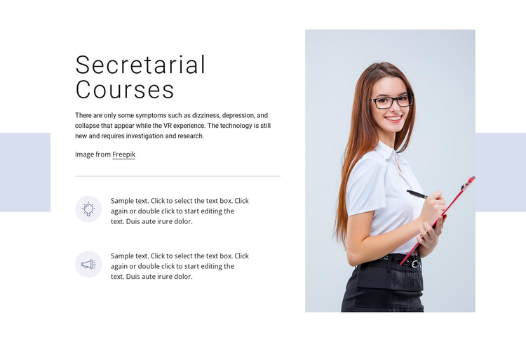 Secretarial courses One Page Template