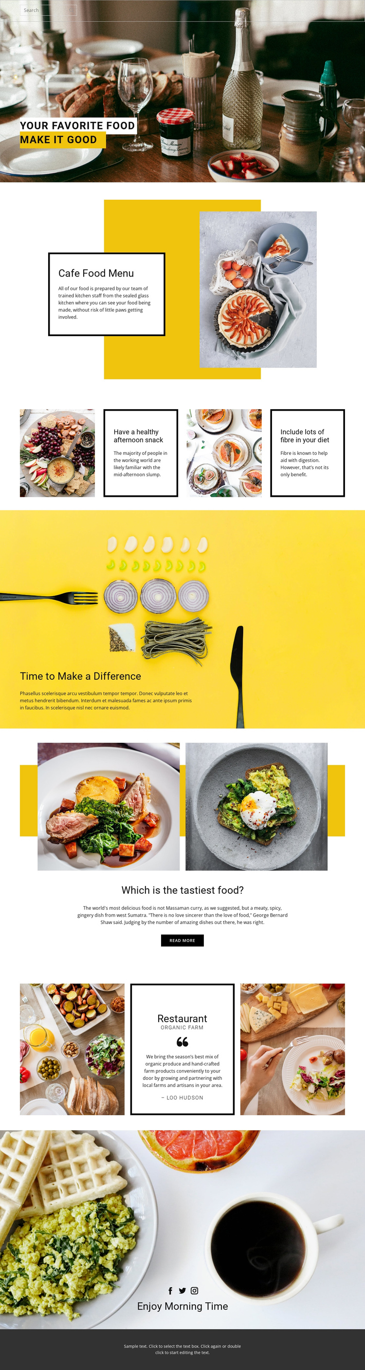 Cook your favorite food One Page Template