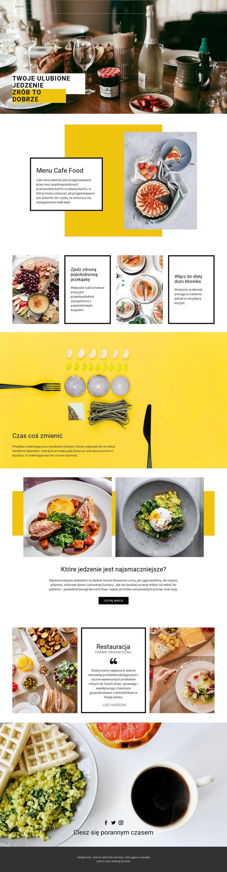 Ugotuj swoje ulubione jedzenie Szablon witryny sieci Web