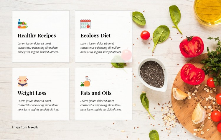Healthy recipes and diet  WordPress Template