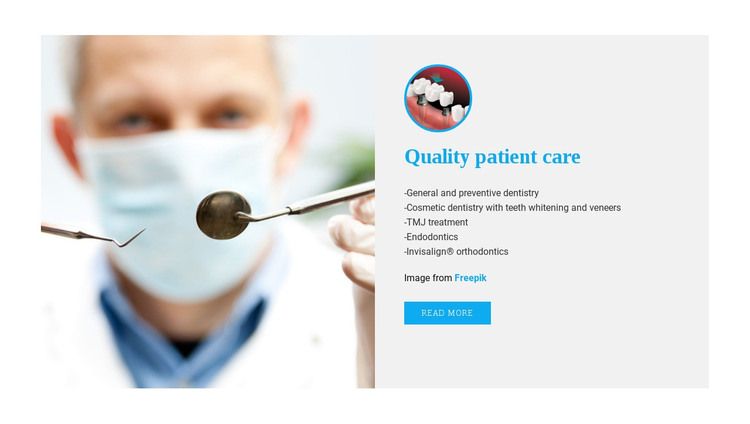 Experiences of dental care HTML Template