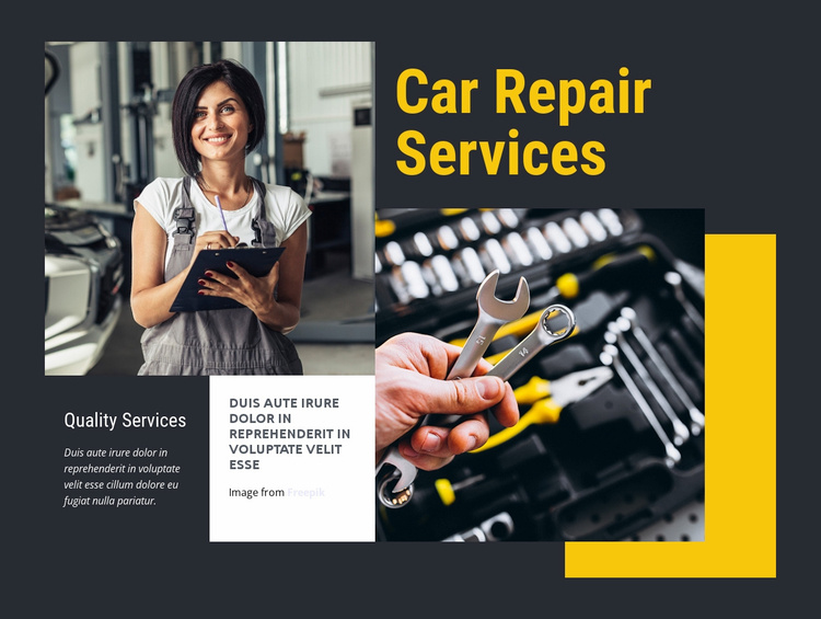Auto repair catered to women Website Template