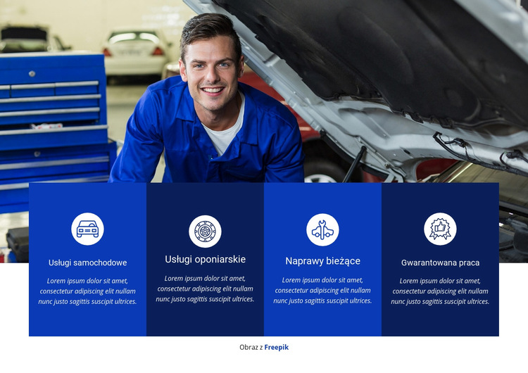 Naprawa i usługi samochodowe Szablon witryny sieci Web