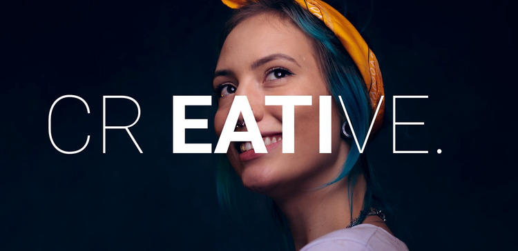 Creative happy woman  Website Mockup