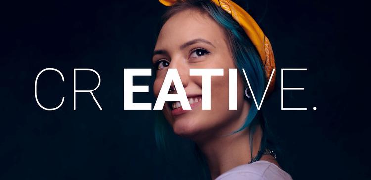 Creative happy woman  WordPress Website Builder