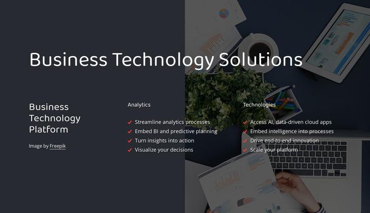 Business technology platform HTML Template