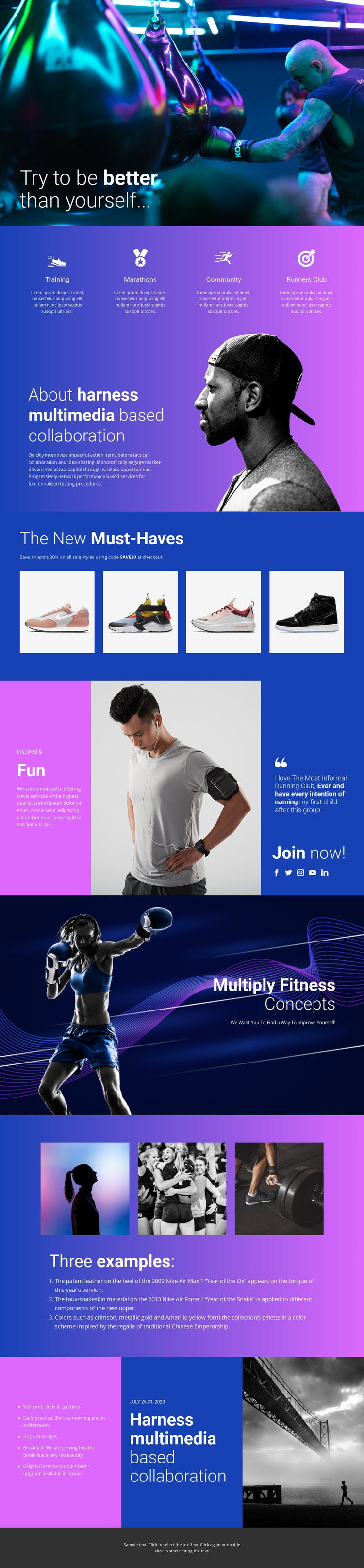 Better way of doing sports One Page Template
