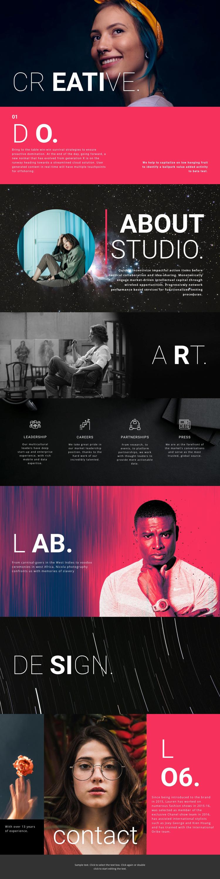 Creative design studio One Page Template
