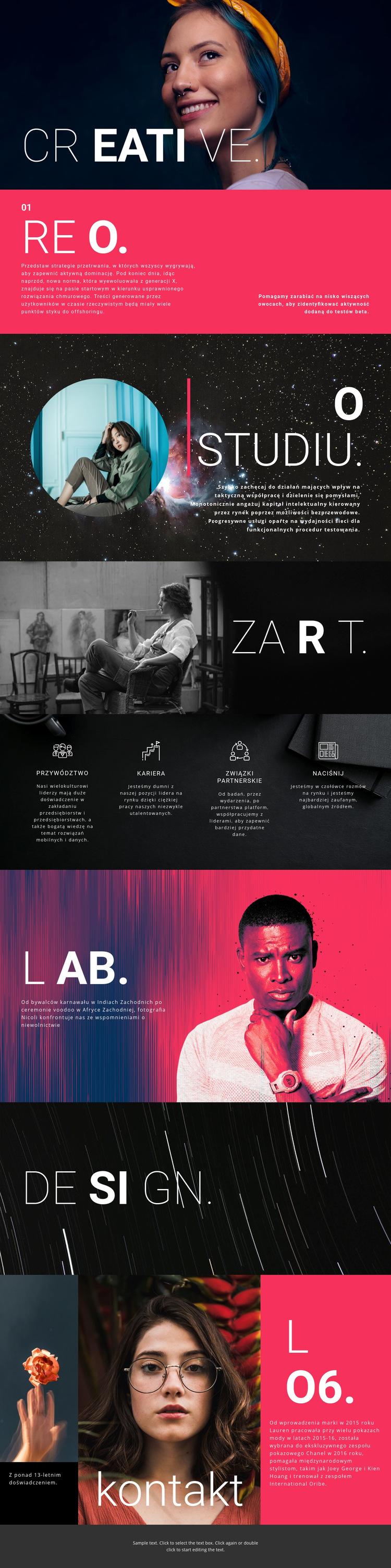 Kreatywne studio projektowe Szablon witryny sieci Web