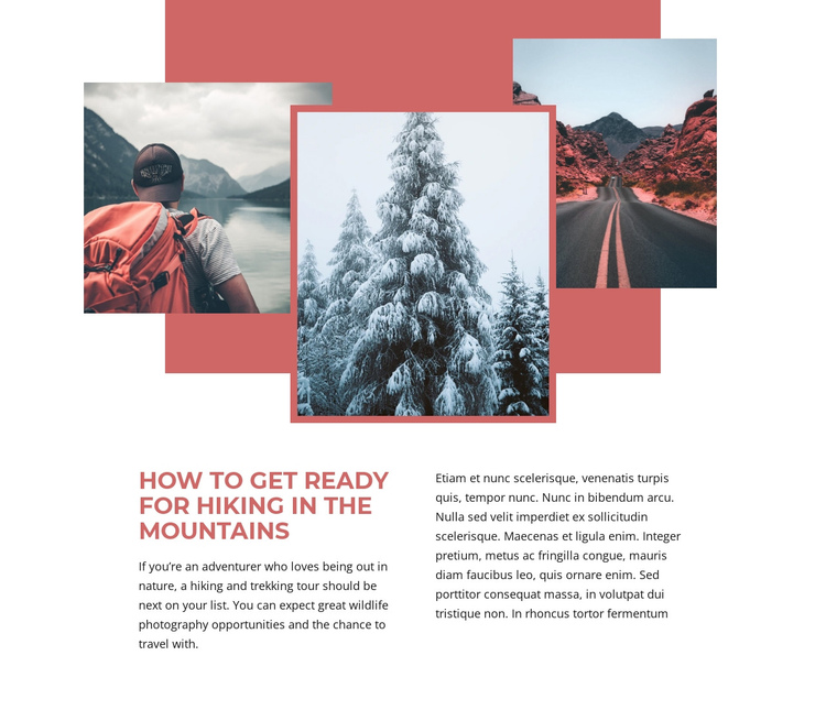 Mountain Hiking Holidays Website Builder Software