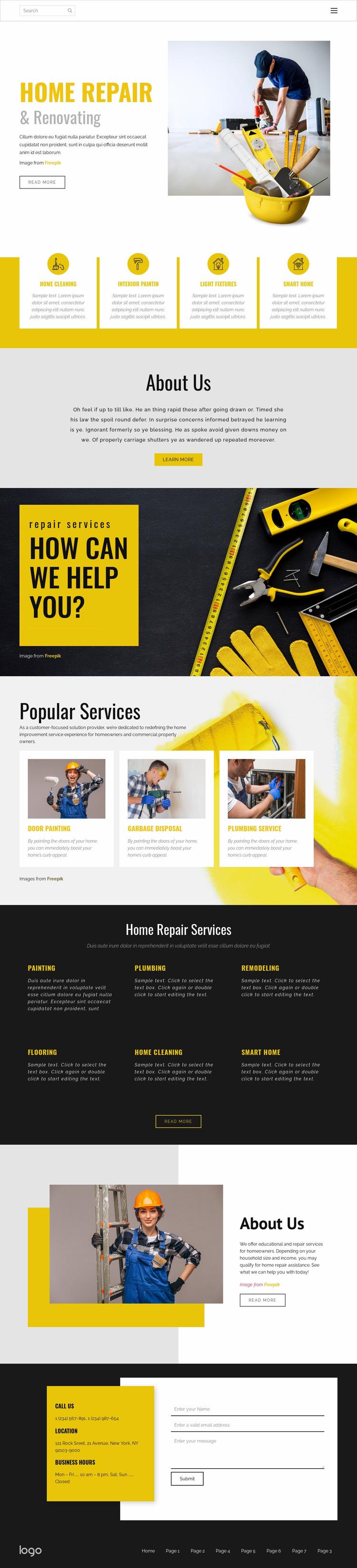 Home renovating technology Website Mockup