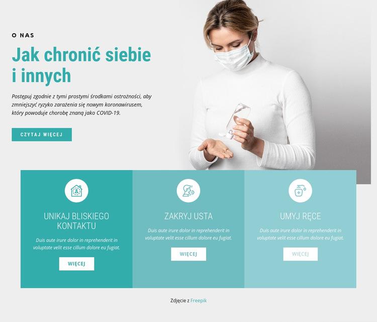 Koronawirus środki ostrożności Szablon witryny sieci Web