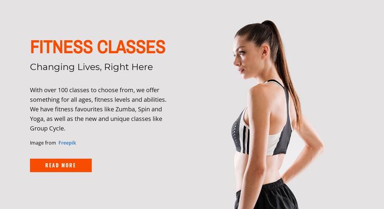 Fitness Classes Website Template
