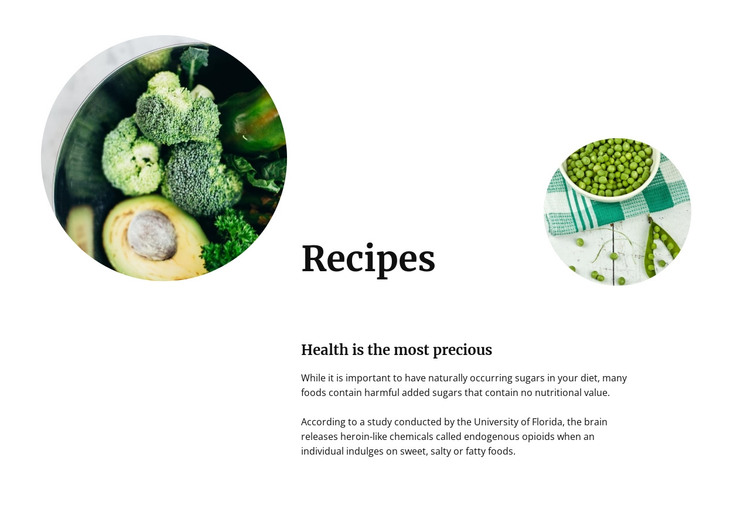 Green vegetable recipes HTML Template