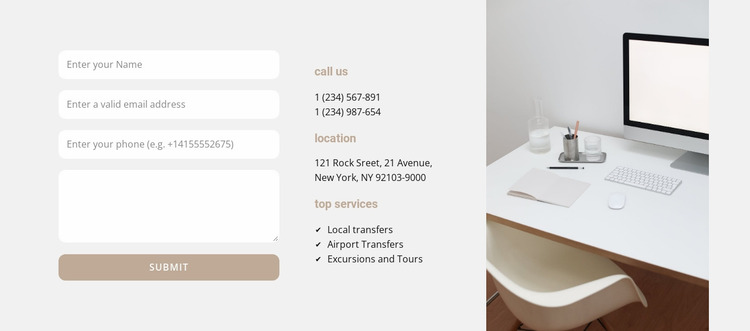 Business center contacts Website Mockup