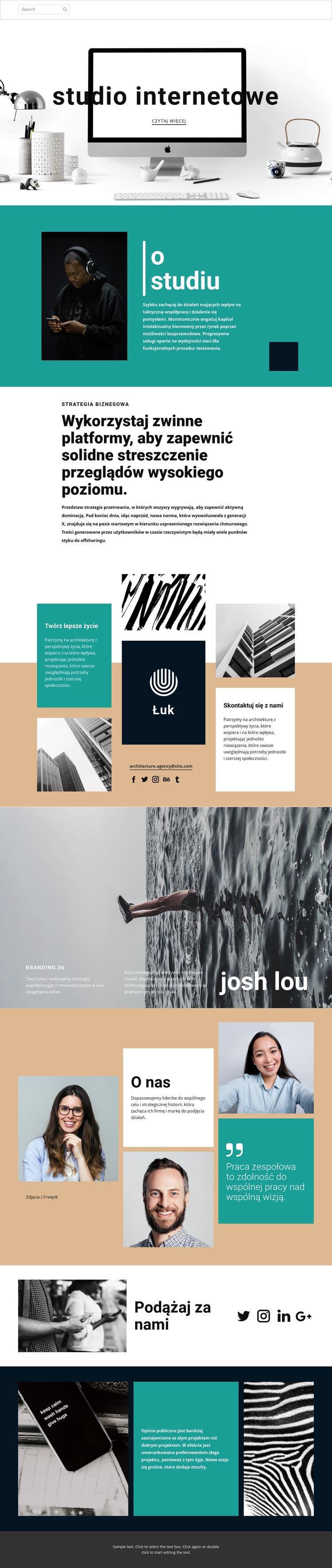 Studio sztuki projektowania stron internetowych Szablon witryny sieci Web