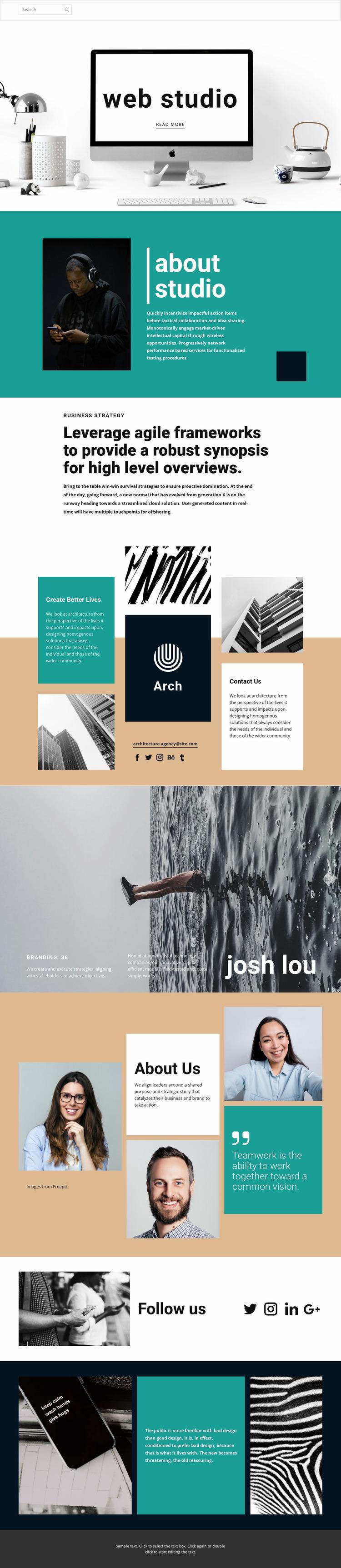 Web design studio of art Website Mockup