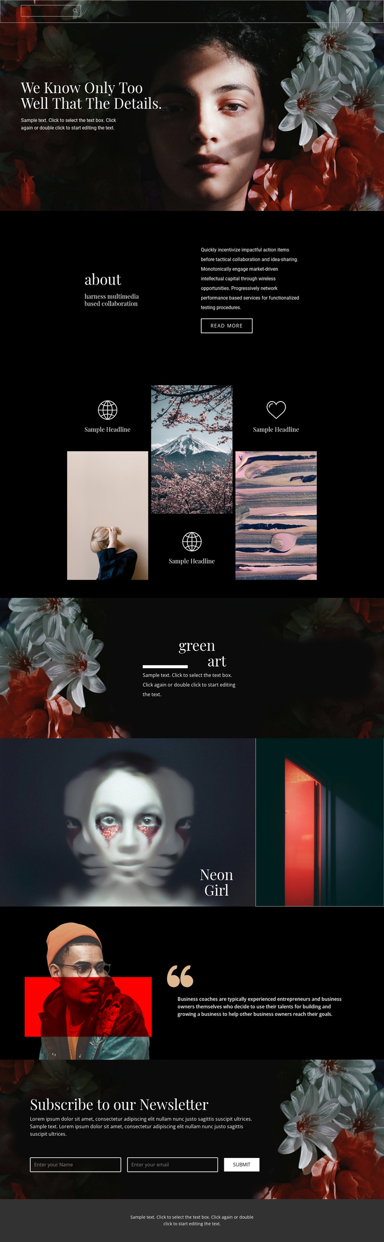 Important details of beauty Website Template
