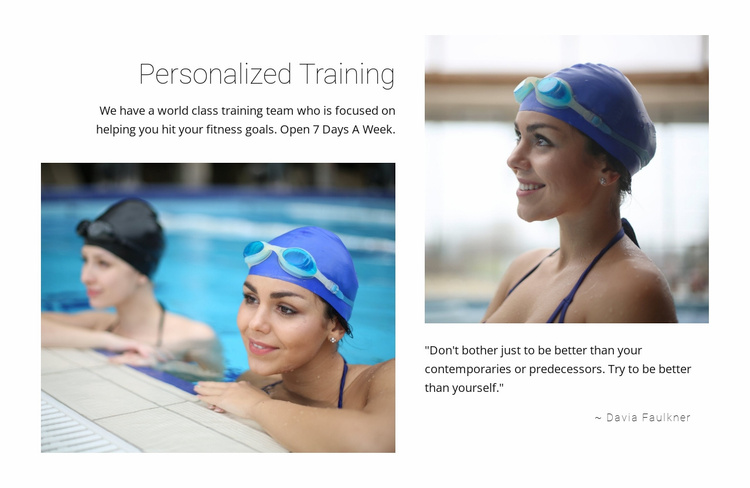 Personal swimming training  Website Template