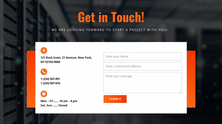 Get in Touch Website Mockup