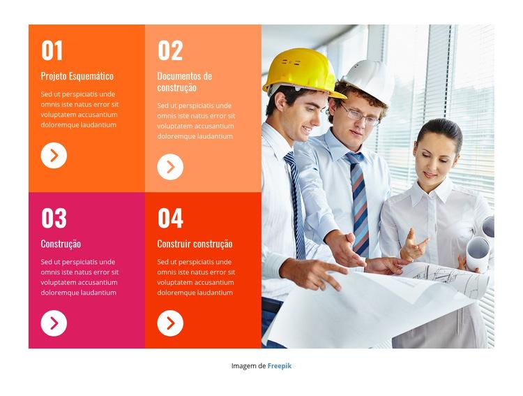 Equipe profissional de construção Modelo de site