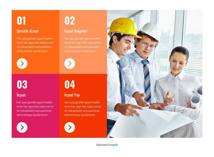 Profesyonel inşaat ekibi Web Sitesi Şablonu