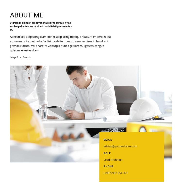 Architect job profile HTML Template