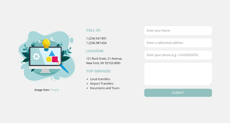 Contact form and addresses Joomla Template