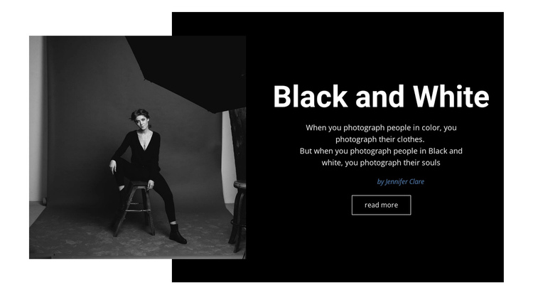 Black and white studio One Page Template