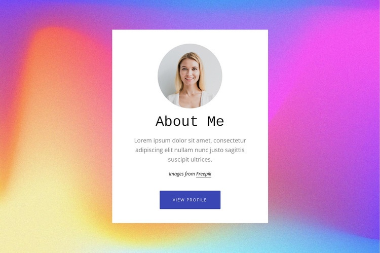 About me text on gradient Web Page Designer