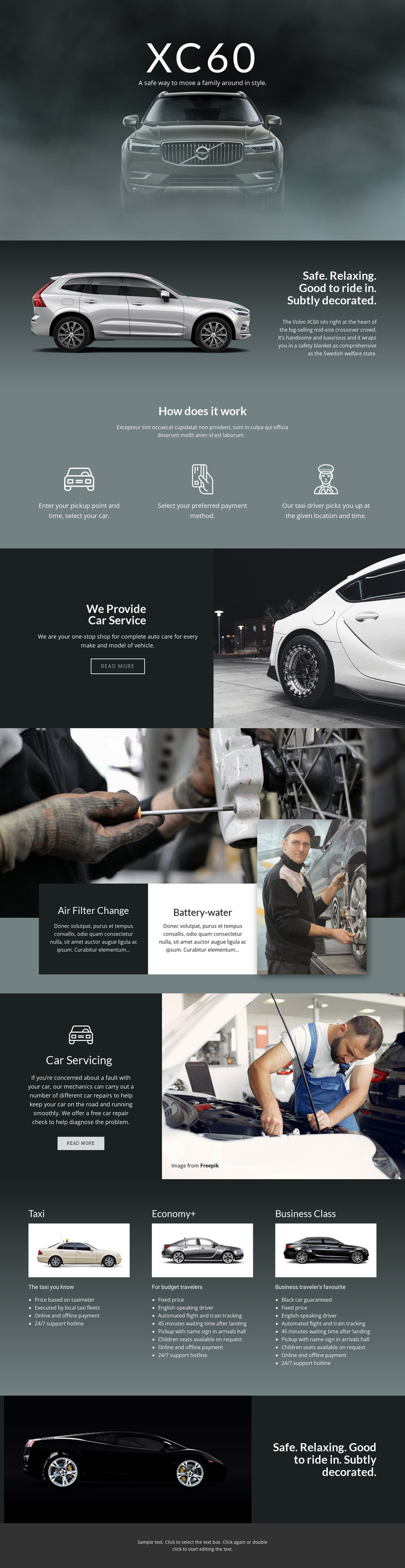 Volvo XC60 off-road car HTML Template