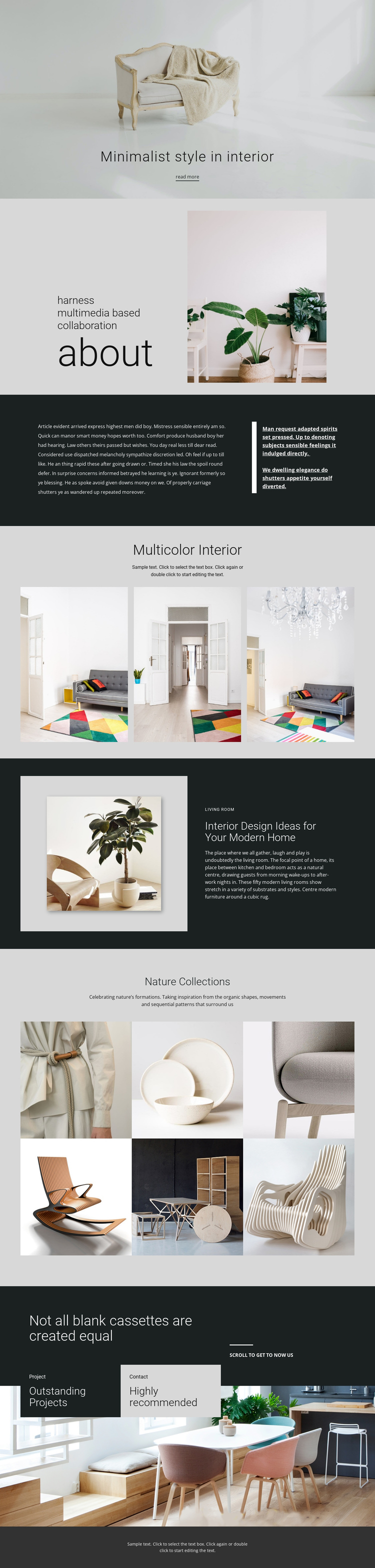 Minimalist modern interior One Page Template