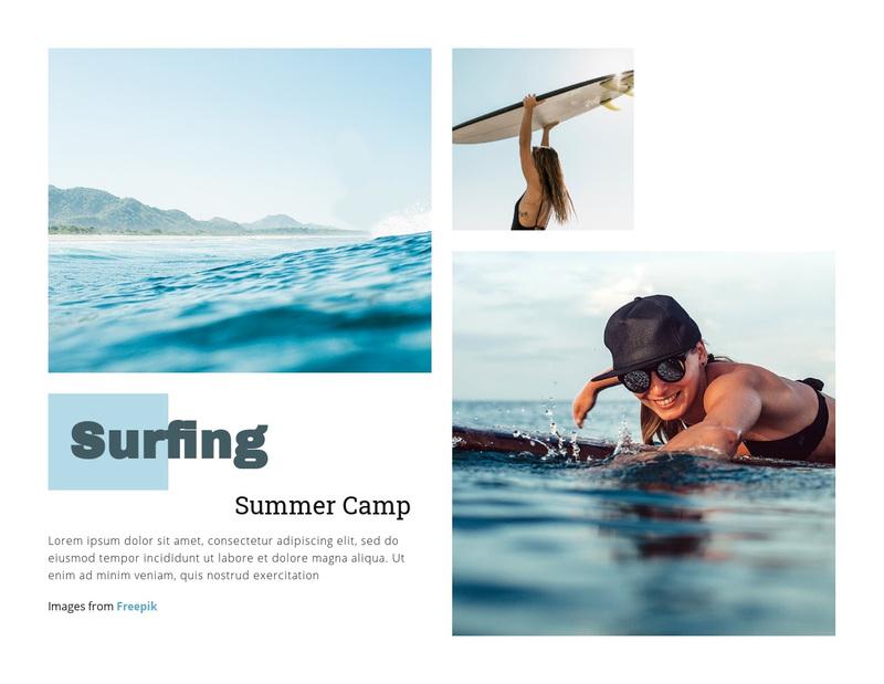 Surfing Summer Camp Web Page Design