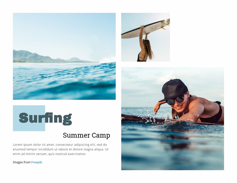 Surfing Summer Camp Web Page Designer
