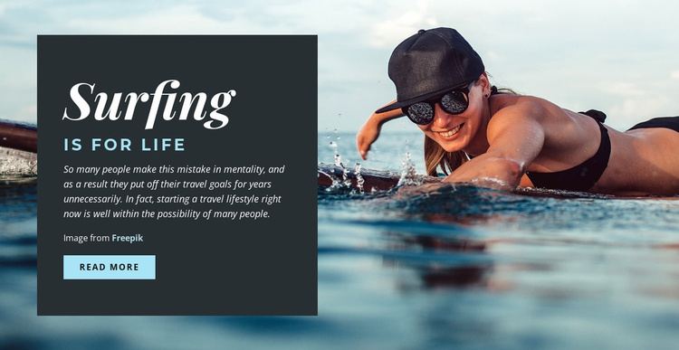 Surfing is for Life Landing Page
