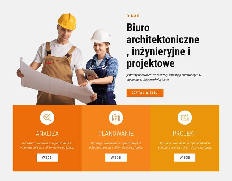 Biuro architektoniczne, inżynieryjne i projektowe Szablon witryny sieci Web